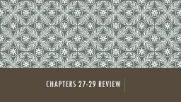 Chapters 27-29 review
