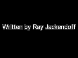 Written by Ray Jackendoff PowerPoint PPT Presentation