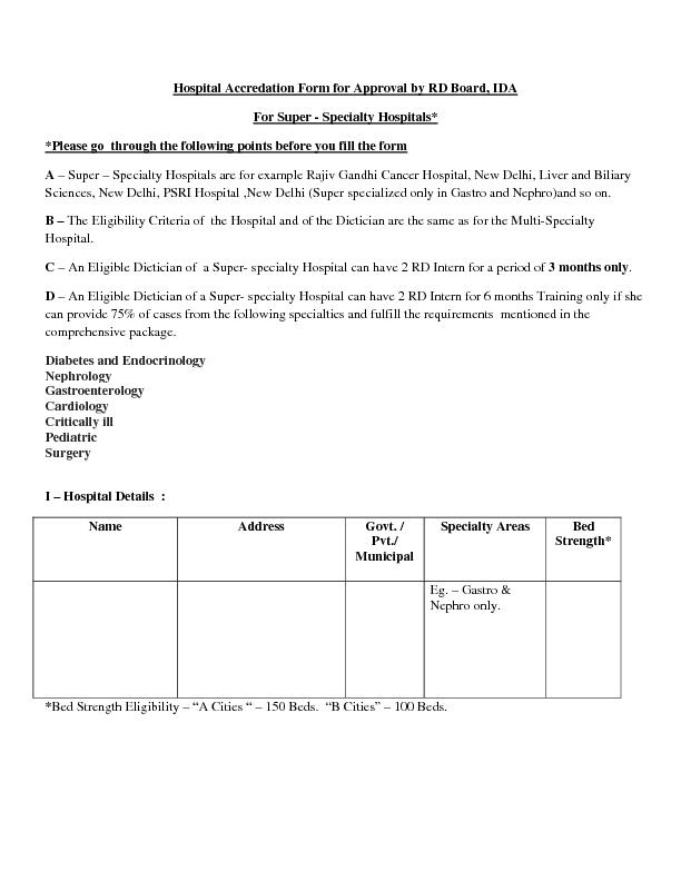 Hospital Accredation Form for Approval by RD Board, IDA