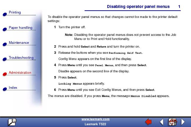 Disabling operator panel menusPaper handlingMaintenanceTroubleshooting