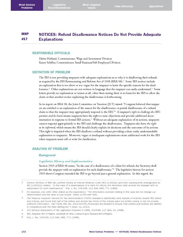 Most Serious Problems  —  NOTICES: Refund Disallowance Notices ..