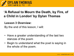 'A Refusal to Mourn the Death, by Fire, of a Child in Lon