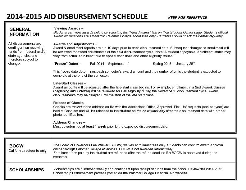 2014 2015 aid disbursement schedule keep for reference pdf for Construction loan disbursement schedule