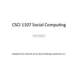CSCI 1107 Social Computing PowerPoint PPT Presentation