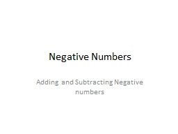 Negative Numbers PowerPoint PPT Presentation