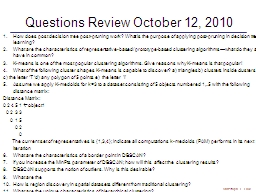 Questions Review October