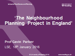 'The Neighbourhood Planning Project in England'