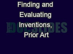 Finding and Evaluating Inventions, Prior Art