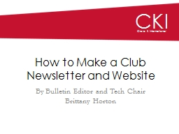 How to Make a Club Newsletter and Website