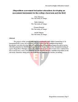 Research in Higher Education Journal  Dispositions assessment, PageDis