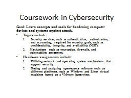 Coursework in Cybersecurity