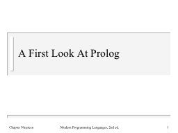 A First Look At Prolog
