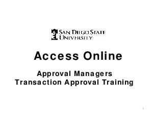 Access Online Approval Managers Transaction Approval T