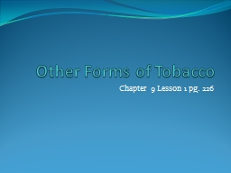 Other Forms of Tobacco & Nonsmoker
