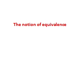 The notion of equivalence