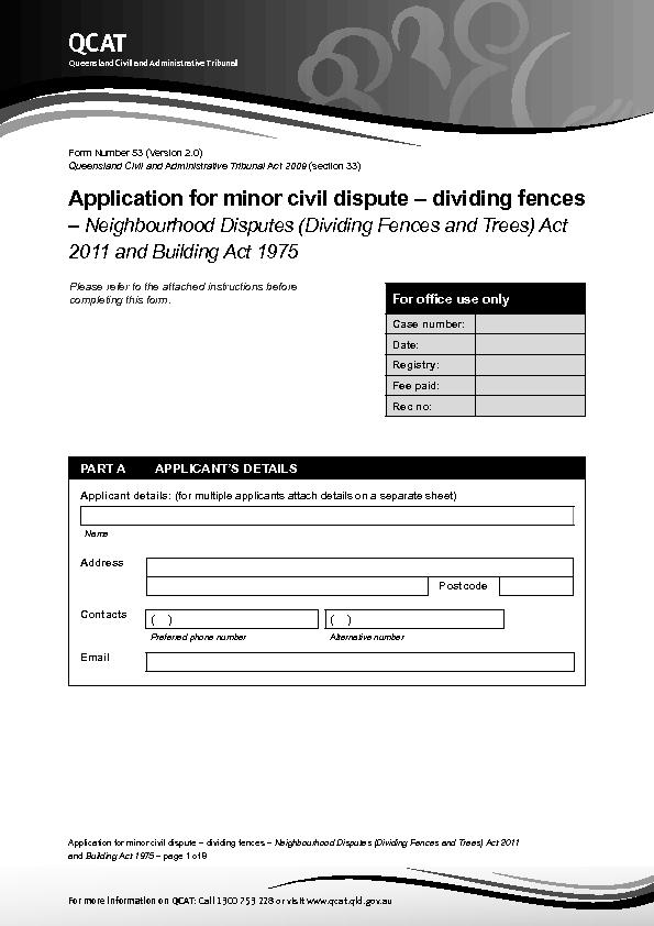 Application for minor civil dispute – dividing fences –
