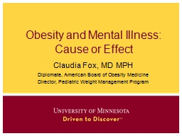 Obesity and Mental Illness: PowerPoint PPT Presentation