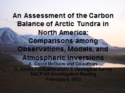 An Assessment of the Carbon Balance of Arctic Tundra in Nor