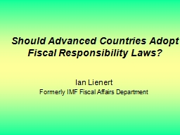 Should Advanced Countries Adopt Fiscal Responsibility Laws? PowerPoint PPT Presentation