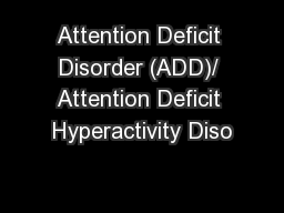attention deficit disorder treatment pdf