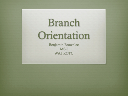 Branch Orientation PowerPoint PPT Presentation