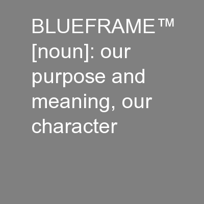 BLUEFRAME� [noun]: our purpose and meaning, our character