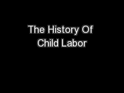 The History Of Child Labor
