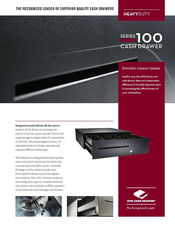 Ecient, compact designSmall in size, the APG Series 100 cash drawer d PDF document - DocSlides