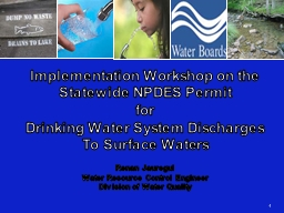 Implementation Workshop on the Statewide NPDES Permit