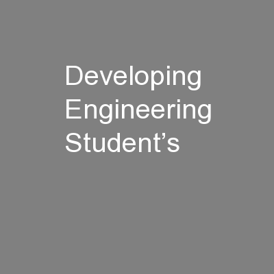 Developing Engineering Student's