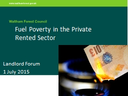 Fuel Poverty in the Private Rented Sector
