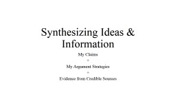 Synthesizing Ideas & Information PowerPoint PPT Presentation