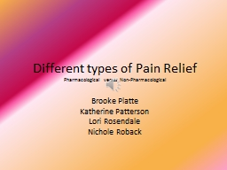 Different types of Pain Relief