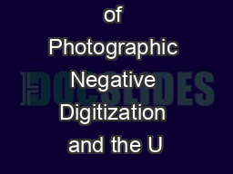 The Process of Photographic Negative Digitization and the U