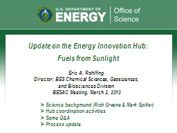 Update on the Energy Innovation Hub: