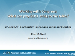 SPS and AAPT Southeastern Pennsylvania Section Joint