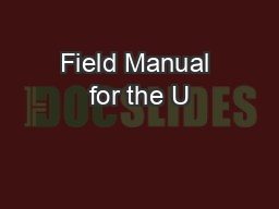 Field Manual for the U