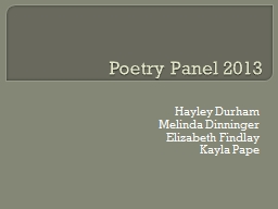Poetry Panel 2013 PowerPoint PPT Presentation