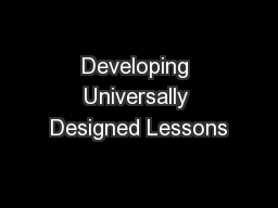 Developing Universally Designed Lessons