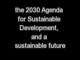 the 2030 Agenda for Sustainable Development, and a sustainable future