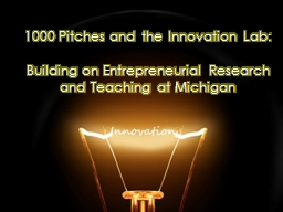 1000 Pitches and the Innovation Lab: