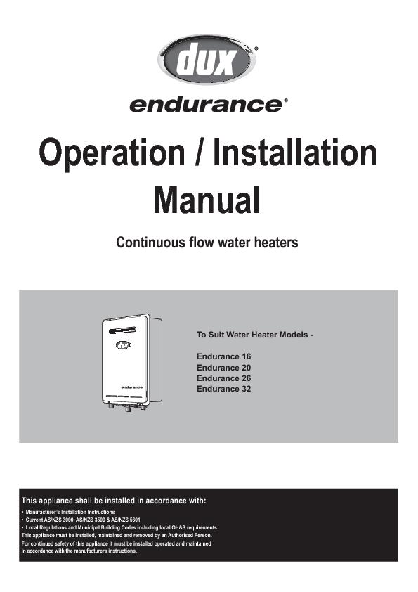 To Suit Water Heater Models -Endurance 32