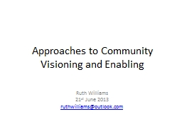 Approaches to Community Visioning and Enabling