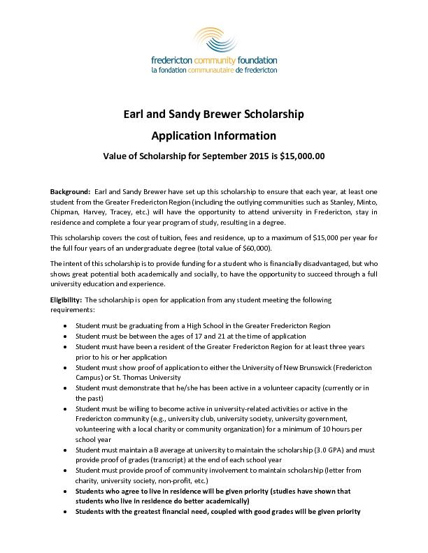 Earl and Sandy Brewer Scholarship