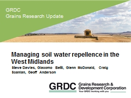 Managing soil water repellence in the West Midlands