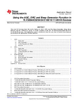 Application Report SLAA March  Using the AGC DRC and B