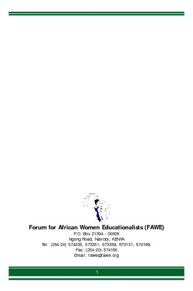 Forum for African Women Educationalists (FAWE)P.O. Box 21394 - 00505Ng