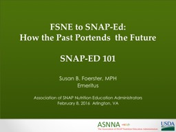 FSNE to SNAP-Ed: PowerPoint Presentation, PPT - DocSlides