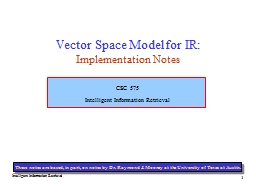 1 Vector Space Model for IR: