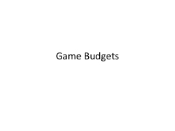 Game Budgets
